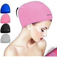 Gorro de natación para cabello largo / rizado de silicona Sombrero de baño de natación para adultos Piscina Laps Látex Látex Reducir el consumo de agua Hombres Mujeres UV Chicos Chica Baño (pink)