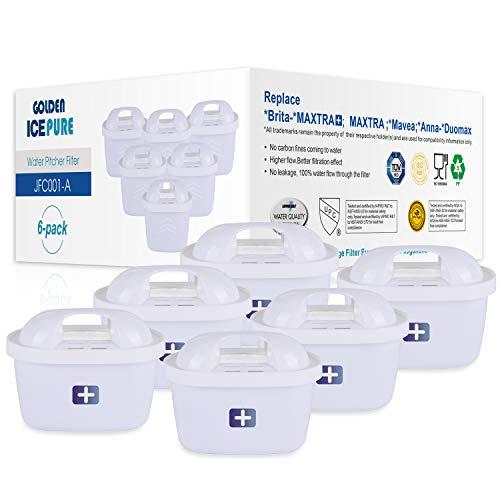 GOLDEN ICEPURE TÜV SÜD Zertifiziert Wasserfilter Ersatz für Brita Maxtra+, Maxtra Plus, Mavea, Anna Duomax 6 Stück (rechnung vorhanden)