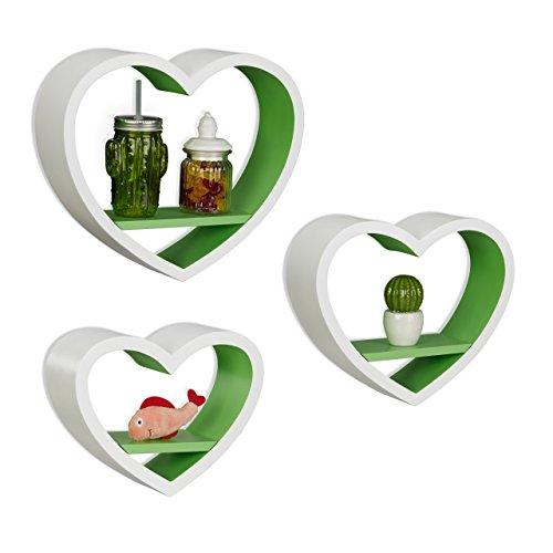 Relaxdays Wandregal Herz 3er Set, romantische Herzform Dekoregale, schwebende Wandablage bis 6kg belastbar, weiß-grün