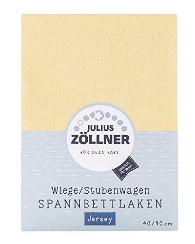 Julius Zöllner 8330047200 Jersey Spannbetttuch für Wiegen 90x40 und Stubenwagen, Farbe: banana