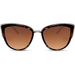 Cheapass oversize, montura marrón metálica, lentes marrones, protección UV400