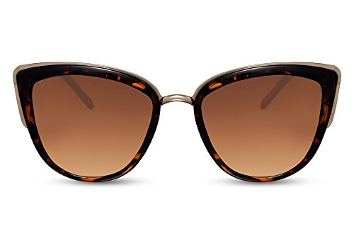 Cheapass Sonnenbrille Damen Braun Gold Cat-Eye Oversized Designer-Brille IT-Girl UV-400 Frauen