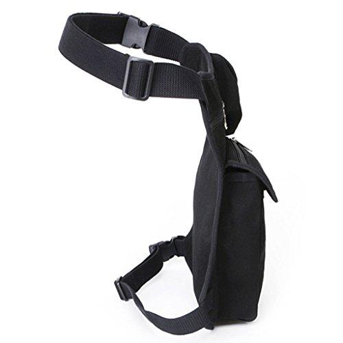 MeCooler Herren Beintasche Retro Taschen Canvas Hüfttasche Bein Hip gürteltasche für Vintage Sporttasche Militär Lässige Reisetasche Multi Strandtasche Gürtel Pack Schwarz