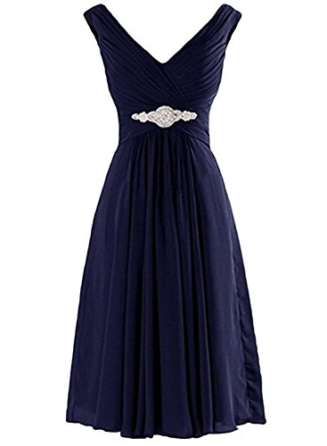 Azbro Women's V Neck Sleeveless Pleated Cocktail Dress Black