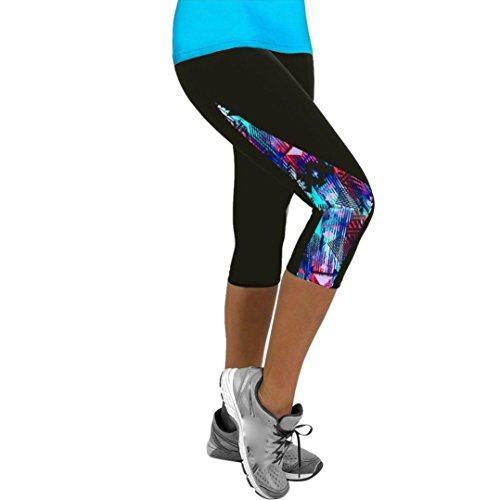 Femme Leggings de Sport Pantalons Jogging Yoga Collants,Powerful-LOT Femmes Dames Floral Sports Yoga Fitness Leggings Gym 3/4 Pantalon Court Mince (05, XL)