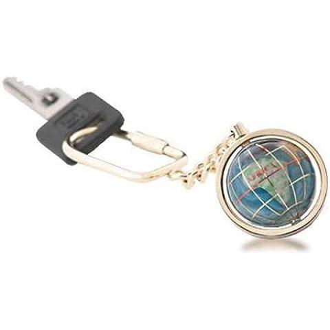 Kalifano Gemstone Globe con portachiavi Opalite oceano su un oro colorato portachiavi–1