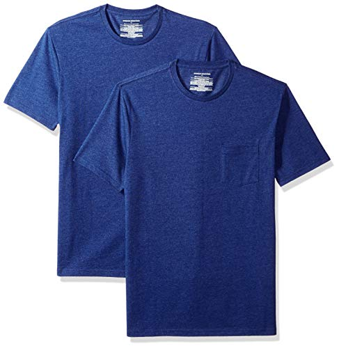Pack Slim-Fit Crew Pocket T-Shirt, Blau (Navy Heather NAV), US (EU XL-XXL) ()