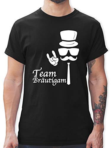 JGA Junggesellenabschied - Team Bräutigam Hipster Suit up Weiss - XL - Schwarz - L190 - Herren T-Shirt und Männer Tshirt