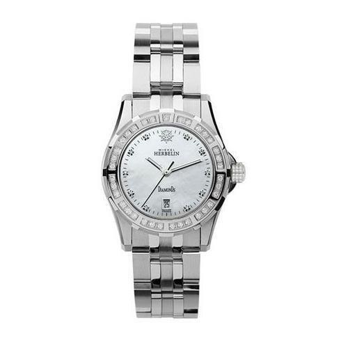 michel herbelin Women's Steel Bracelet & Case Sapphire Crystal Quartz MOP Dial Analog Watch 14291/35Y89B