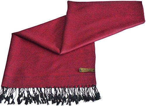 CJ Apparel Rot & Schwarz Einfarbiges Design Stola Schal Umschlagtuch Schultertuch Tuch (16 Cashmere)