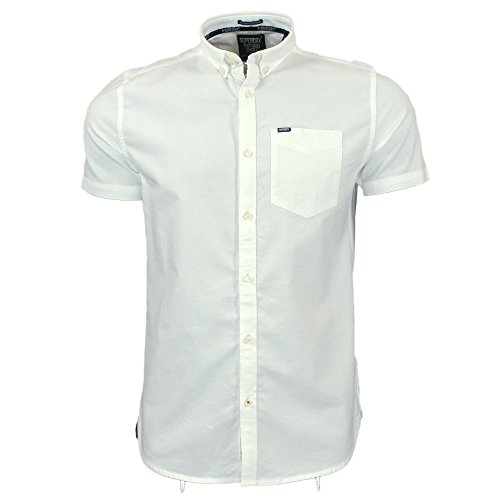 Superdry Ultimate Oxford Short Sleeve Shirt in Optic White Optic