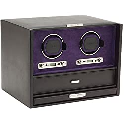 Wolf Blake Double 2.7 Automated Mechanical Lockable Watch Winder - Black & Purple