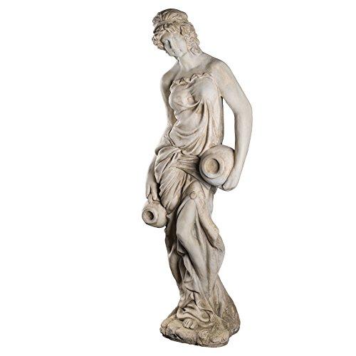 Wetterfeste Riesige XXL schwere (18 kg) Statue antike Wassertägerin 118 cm hoch SYL-A 14017 Gartenfigur, Dekofigur, Statue, Mythologie, Figur, Büsten, Dekorationsfigur für Innen und Außen, Polyresin , Gartendekoration, Gartenfigur, Skulptur in ANTIKBEIGE
