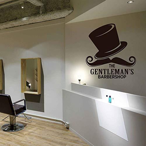yaoxingfu The Gentleman Barbershop Wandtattoos Vinyl Wandaufkleber Friseur Schaufenster Dekor Friseursalon Haarschnitte Bärte Hut Wandbild42x46cm