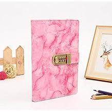 Notizbuch mit Marmor-Muster, PU-Ledereinband, Passwort-Notizbuch, A5 Handkonto, Rosa