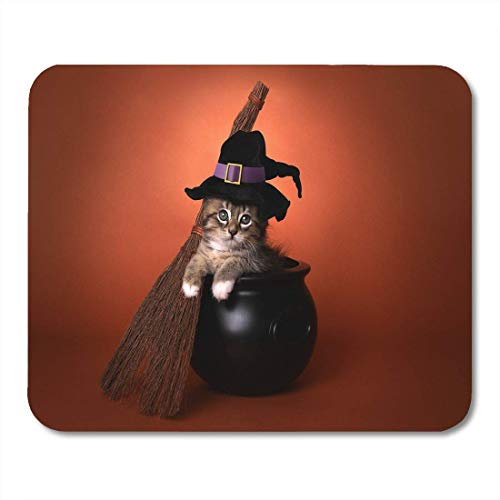 AOHOT Mauspads Tan Cat Funny Halloween Witch Kitten Costume Cauldron Adorable Animal Mouse pad 9.5