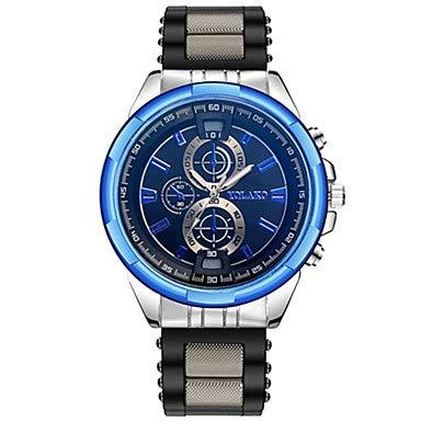 XKC-watches Herrenuhren, Herrn Paar Armbanduhren für den Alltag Sportuhr Modeuhr Quartz Schwarz/Silber Armbanduhren für den Alltag Analog Luxus Freizeit - Grau Rot Blau (Farbe : Blau)