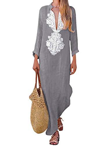 Tomwell Damen Sommer Herbst Vintage Lose Kleider V Ausschnitt Langarm Ethnischer Druck Maxikleid Langkleid Grau DE 42 (Mittelalterliches Bankett Kostüme)