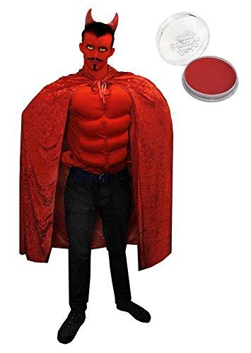 (ILOVEFANCYDRESS Teufel/Satan KOSTÜM Verkleidung =HEIMTÜCKISCH=Rotes Gepolstertes Muskel Shirt+Roter Velour Umhang + Rote Teufel HÖRNER+Selbstklebende Schwarzen SCHNURRBÄRTEN + Rotes Make up=XLarge)