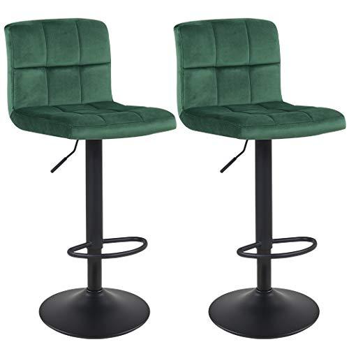 Duhome Barhocker 2X Barstuhl Dunkel Grün aus Stoff Samt Drehstuhl Tresenhocker (Typ 9-451Y) Bar Sessel gut gepolstert Bodenschoner, mit verchromten Griff höhenverstellbar gut gepolstert mit Lehne