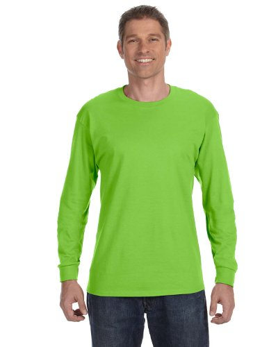 Hanes 6.1 OZ. Tagless ComfortSoft Long Sleeve T-Shirt Pack of 3 Lime (Pack of 3)