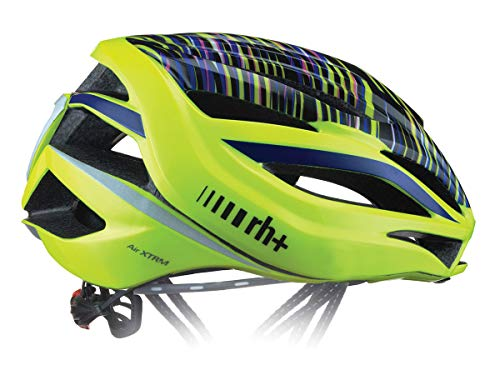 RH+ Helm Bike Air XTRM Hologram-Shiny Yellow Fluo-Cobalt Blue L/XL Unisex Erwachsene
