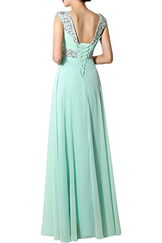 Promgirl House Damen Elegant Lang A-Linie V-Ausschnitt Chiffon Schnuerung Paillenten Cocktail Brautkleid Brautjungfernkleid Ballkleider Lang Fuchsia
