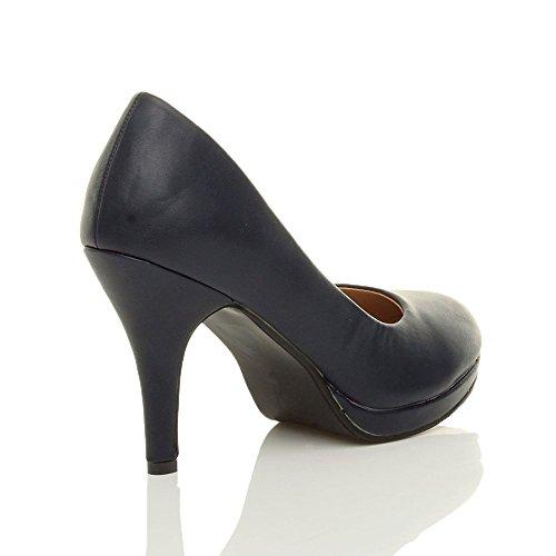 Sapatos Partido Plataforma De Mate Médio Básica Senhoras Calcanhar Azul Tamanho alto Noite Marinha Elegantes Bombas vFt8WU