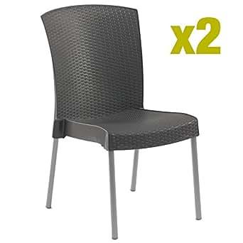 chaise de jardin ineo- grosfillex - lot de 2 -coloris anthracite