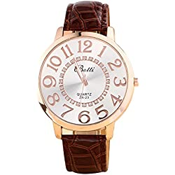 Batti ZA-23 Unisex Big Numerals Rhinestone Faux Leather Wrist Watch Brown