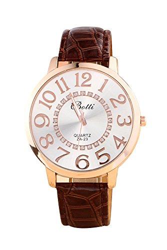 Montre-bracelet - Batti ZA-23 Unisexe montre-bracelet de cadran de gros chiffres strass avec bande en simili cuir brun