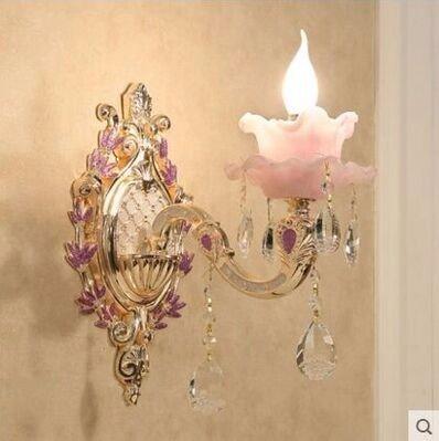 Ehime Wandleuchten Hochzeit lila Wohnzimmer Schlafzimmer Wand lampe Nachttischlampe gang Wand Crystal Wand leuchten keine optische Quelle