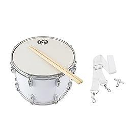 ammoon 14in Tamburo da Marcia in Acciaio Inox e Legno di Acero Corpo PVC Drumhead con i Bastoni Spalla Chiave della Cinghia per Studenti Professionale Drummer