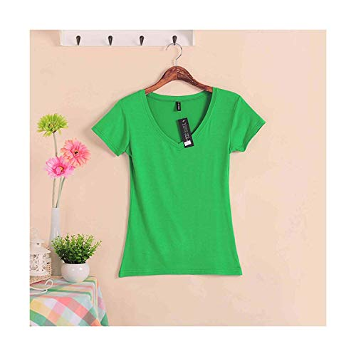 Women's Causal wear 2019 Autumn Slim V-Neck modal Short-Sleeve Basic t-Shirt Candy Color Tops & tees Cotton lawngreenlawngreen One Size