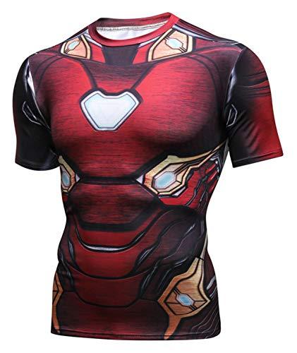 PIZOFF Unisex 3D Druck Kurzarm T-Shirt Muskelshirt Superhero Kampfanzug Iron Man (Ironman Halloween Kostüm)