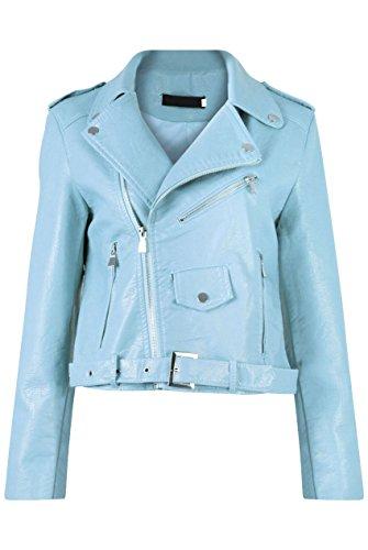 GG neuen Frauen Faux-Leder- Zip Crop Damen Biker-Jacken-Mantel (Damen Belted Jacke Leder Reißverschluss)