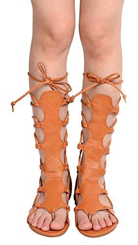 Odema sandali romani estivi senza stacco con cinturini e banda da donna Marrone