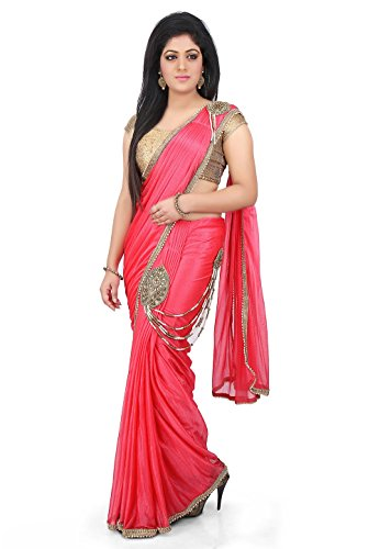 Bahurani Sarees Women's Pre-stitched Butterfly Pallu Shimmer Lycra Saree in