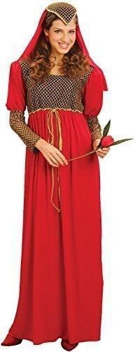 Juliet Mittelalterlich Shakespeare Buch Tag Woche Verkleidung Kleid Kostüm Outfit STD &Übergröße - Rot, Rot, STD (UK 10-14) (Romeo Und Julia Romeo Kostüm)