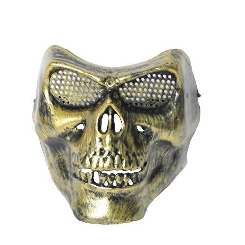 Karneval Vintage Devil Masquerade Mask Kostüm Vollgesichts Sexy Dämon Schädel Halloween Mardi Gras Masken Für Erwachsene Cosplay Party,Gold-OneSize (Paare Kostüm Für Mardi Gras)