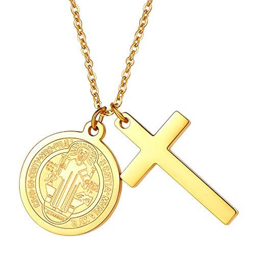 FaithHeart Damen Halskette mit Kreuz Anhänger Amulett Kette Gold Der Christentum St Michael Katholische Schmuck Religiöse