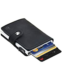 Dlife Tarjetero RFID Cartera Crédito, Cartera de Aleación de Aluminio Multiuso Bolsillos, Cuero PU Exterior Automáticas Desplegables para Hombres…