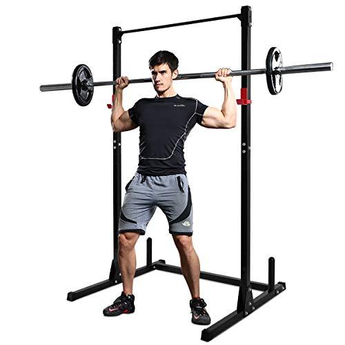 f8c2312290d22f COSTWAY Squat Rack Power Rack Fitness-Rack Kraftstation  Gewichtsscheiben-Ständer Langhanteltraining 115 x 126