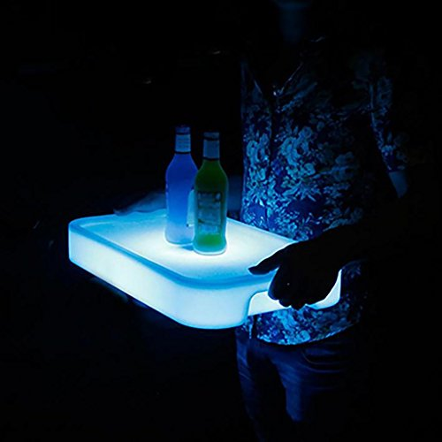 xinye LED Tablett rechteckig Wasserdicht Kunststoff 16wechselnden Farben wiederaufladbar Wein Display Ständer für Bar