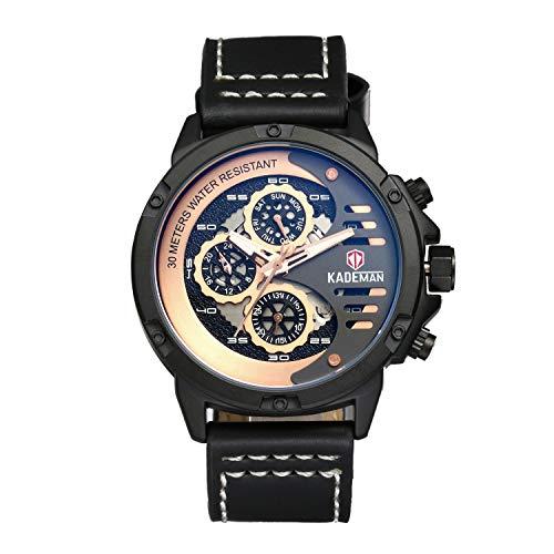 Avaner Reloj de Hombre Grande Punky Correa de Cuero Negro Reloj Dorado Original, Reloj Analógico Cuarzo con 3 Subesfereas