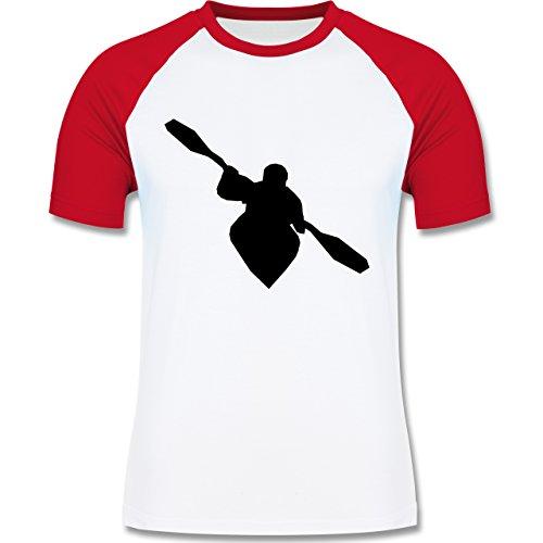 Shirtracer Wassersport - Kajak - Herren Baseball Shirt Weiß/Rot