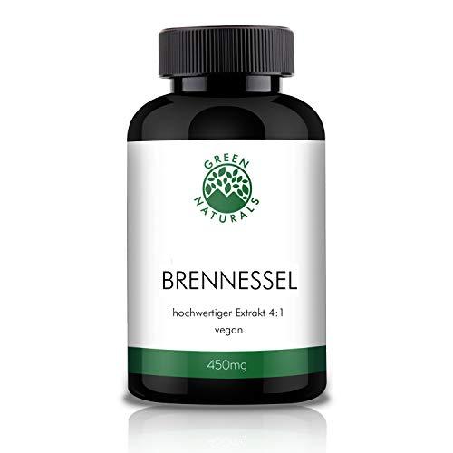GREEN NATURALS Premium Brennessel Extrakt 4:1-120 hochdosierte Kapseln á 450mg aus deutscher Herstellung - 100% Vegan & Ohne Zusätze