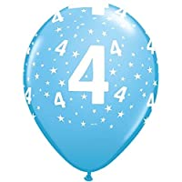 "Qualatex Age 4 Stars-A-Round 4th Birthday Pale Blue 11"" Latex Balloons x 6"