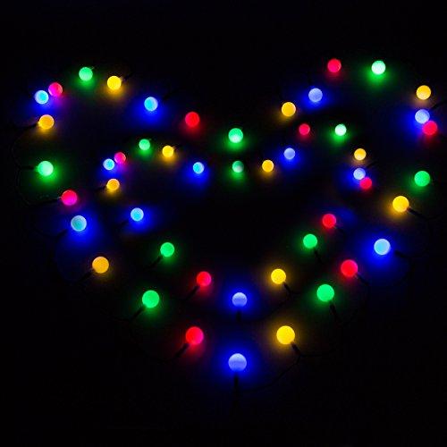 Panpany 50 LED Solar Lichterkette 6.8m Outdoor runde Lichter Bunt 2 Modi Kugel Licht für drinnen ,...