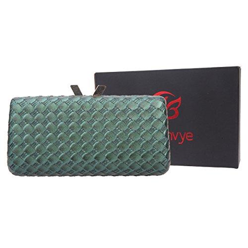 Bonjanvye Kiss Lock PU Leather Weave Handbags For Women Blue Green